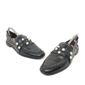 Zara Basic Black Loafer Pearls Leather Shoes